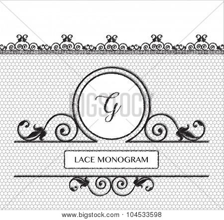 Letter G black lace monogram, stitched on seamless tulle background with antique style floral border.