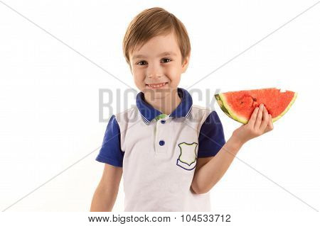 happy boy with watermelon in hand
