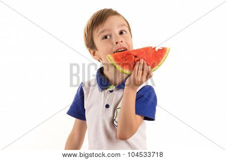 boy eating watermelon isolated on white