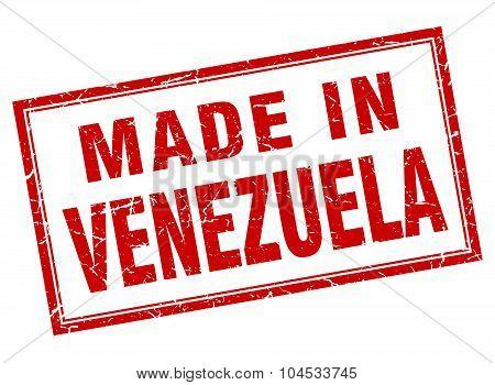 Venezuela Red Square Grunge Made In Stamp