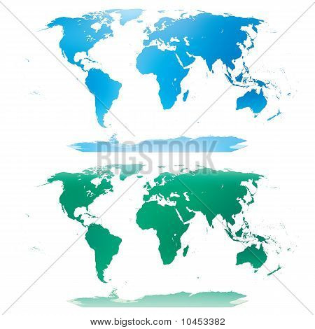 blue and green world map