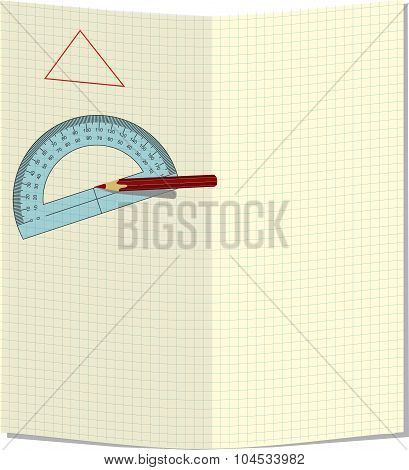 A sheet of paper in a cage with pencil and protractor.