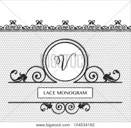 Letter V black lace monogram, stitched on seamless tulle background with antique style floral border.