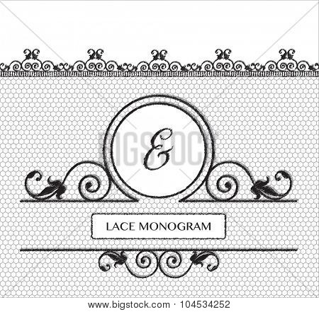 Ampersand black lace monogram, stitched on seamless tulle background with antique style floral border.