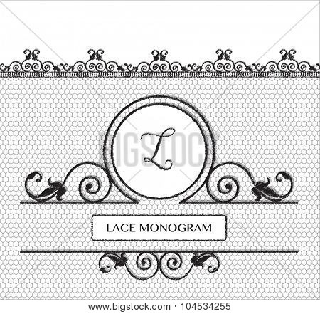 Letter L black lace monogram, stitched on seamless tulle background with antique style floral border.