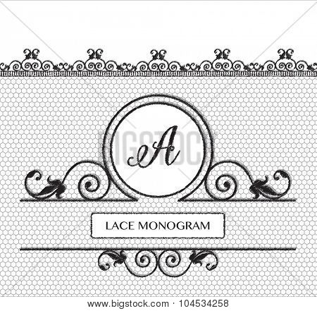 Letter A black lace monogram, stitched on seamless tulle background with antique style floral border.