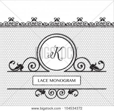 Letter K black lace monogram, stitched on seamless tulle background with antique style floral border.
