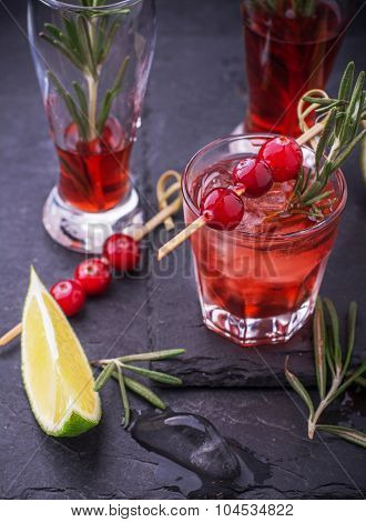 Cranberry, rosemary, gin fizz, cocktail on a white background