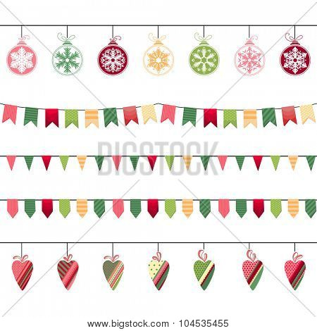 Christmas garlands, endless horizontal texture. Seamless pattern brushes.