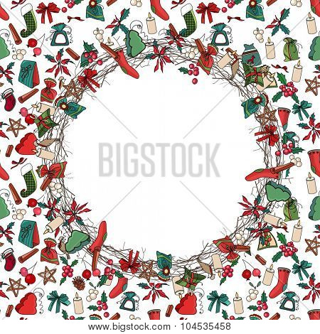 Round Christmas wreath with decoration. Traditional elements. For Christmas design, announcements, postcards, posters.