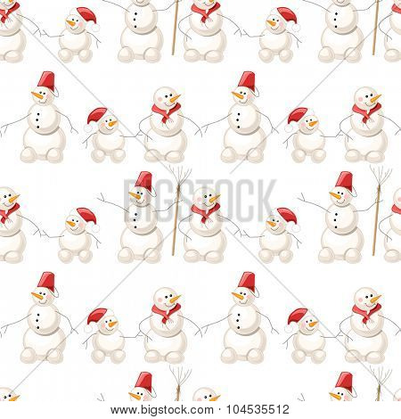 Seamless pattern with  snowmen on white. Endless texture for design, announcements, postcards, posters.