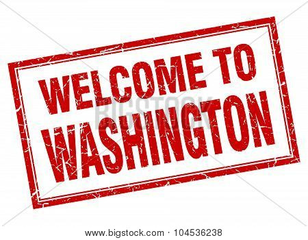 Washington Red Square Grunge Welcome Isolated Stamp