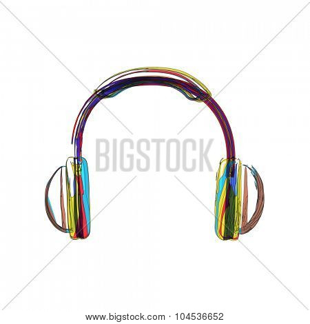 Headphones lines color easy editable