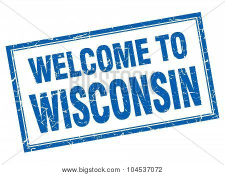 Wisconsin Blue Square Grunge Welcome Isolated Stamp