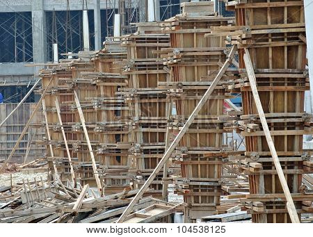 Timber column form work under construction at the construction site