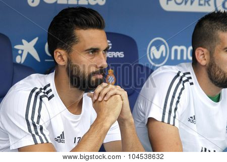 BARCELONA - SEPT, 12: Alvaro Arbeloa of Real Madrid during a Spanish League match against RCD Espanyol at the Power8 stadium on September 12 2015 in Barcelona Spain
