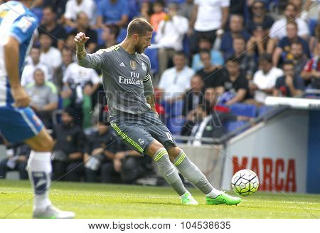 BARCELONA - SEPT, 12: Sergio Ramos of Real Madrid during a Spanish League match against RCD Espanyol at the Power8 stadium on September 12 2015 in Barcelona Spain