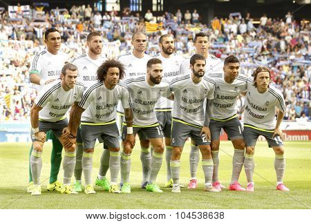 BARCELONA - SEPT, 12: Real Madrid lineup before a Spanish League match against RCD Espanyol at the Power8 stadium on September 12 2015 in Barcelona Spain