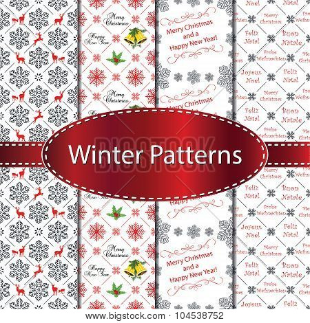 Christmas and New Year Pattern Set, also for print