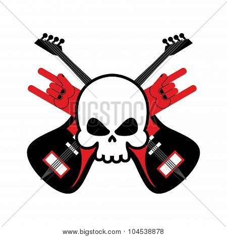 Skull With Guitars And Rock Hand Symbol. Logo For Rock Band. Logo For Lovers Rock Music.