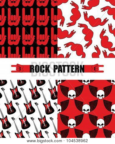 Rock Pattern. Set Seamless Patterns  Theme Of Rock Music. Rock Hand Symbol Background. Texture From