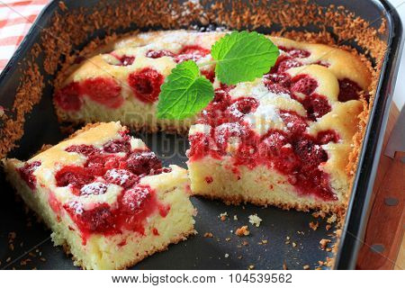 fresh baked raspberry sponge cake in baking tray