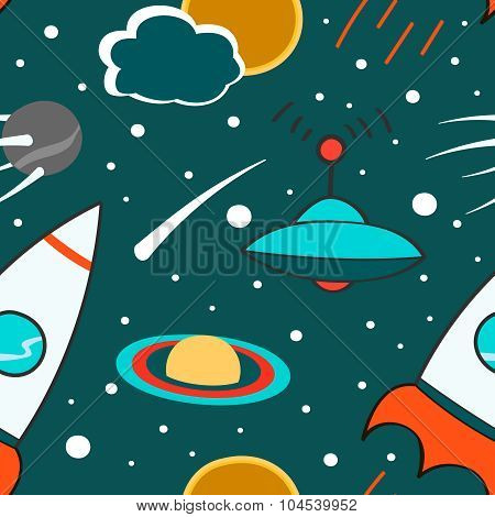 Seamless pattern with outer space, rocket, comet, planets, ufo and stars. Childish background. Hand
