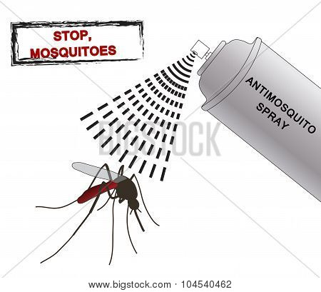 spray anti mosquitoes illustration. Anti mosquito spray. silhouette mosquitoes.