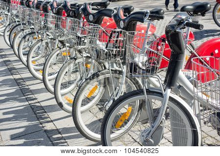 Lyon, France - On April 15, 2015 - Shared Bikes Are Lined Up In The Streets Of Lyons, France. Velo'v