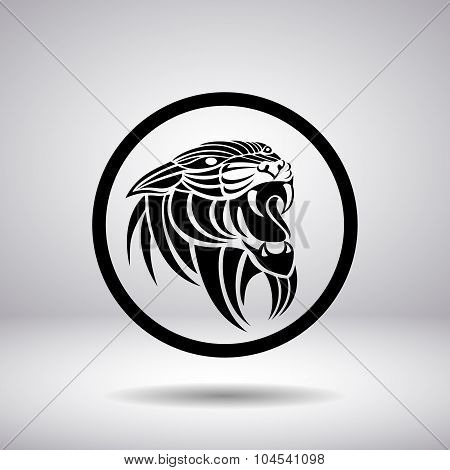 Silhouette Of A Panther Head In A Circle