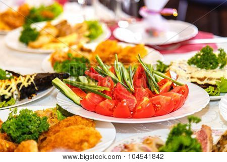 Salads And Dishes On The Banquet Table
