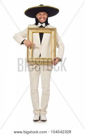 Funny mexican in suit holding photo frame isolated on white