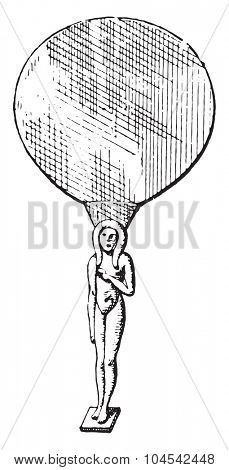 Egyptian Mirror, vintage engraved illustration. Private life of Ancient-Antique family-1881.