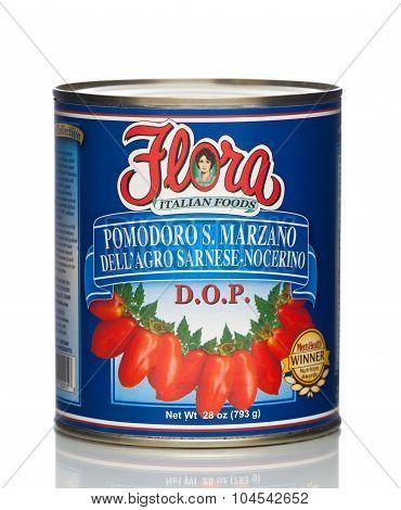 MIAMI, USA - JAN 26, 2015: 28 oz. Flora San Marzano Tomatoes. Authentic Italian Tomato.