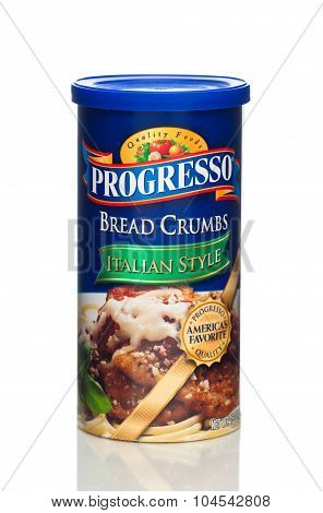MIAMI, USA - JAN 19, 2015: A can of Progresso bread crumbs. Progresso is a brand of General Mills.