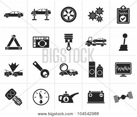 Black car services and transportation icons