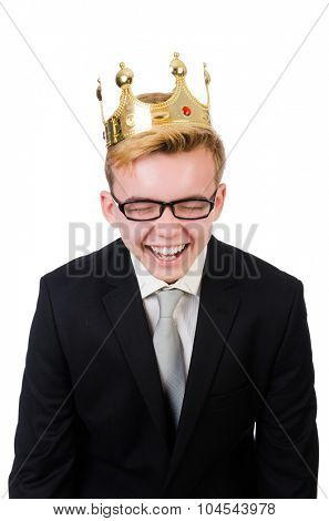 Young businessman with crown isolated on white