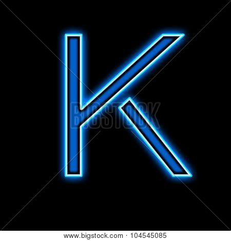 Neon Letter K Blue