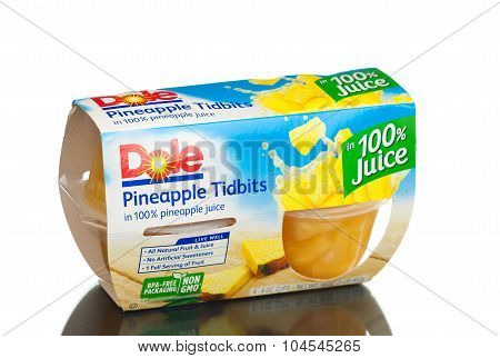 MIAMI, USA - February 9, 2015: Dole Pineapple Tidbits in 100% Pineapple Juice, 4 oz, 4 count.