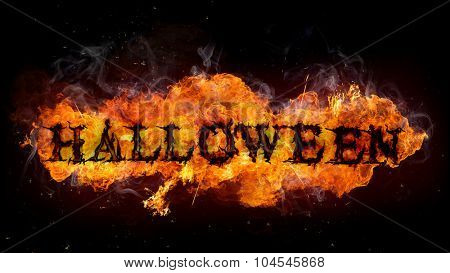 Halloween sign made of Fire flames