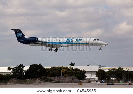 FORT LAUDERDALE, Florida, USA - FEB 5, 2015: IBC Air Embraer ERJ-145EP landing.