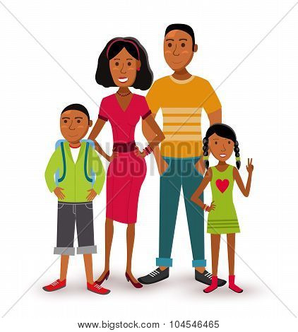 Happy Family People Flat Illustration