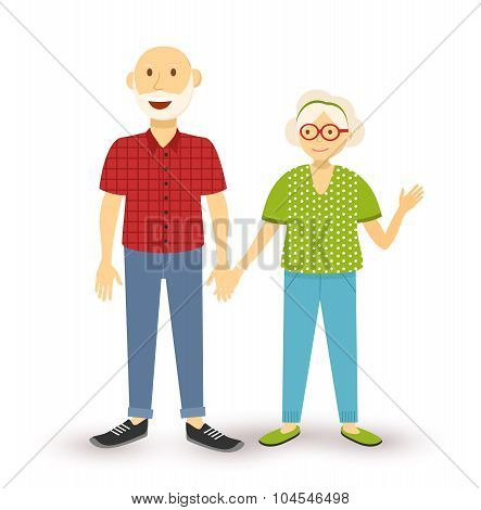 Old Couple Grandparents Happy Flat Illustration