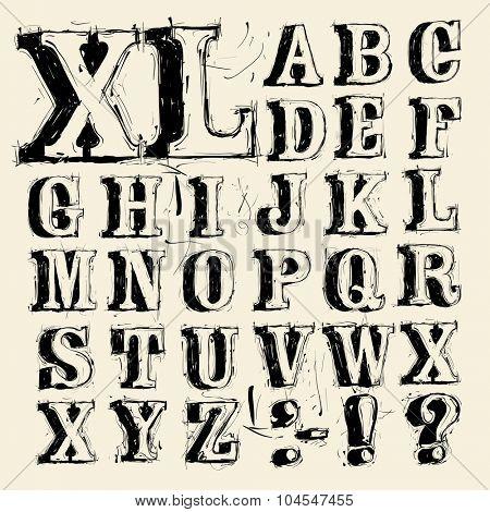 Hand written vintage scribbled vector typeface