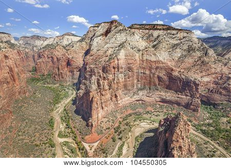 View From Angels Landing Rock Formation In Zion National Park, Usa.