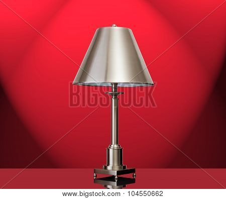 Lamp with a red background