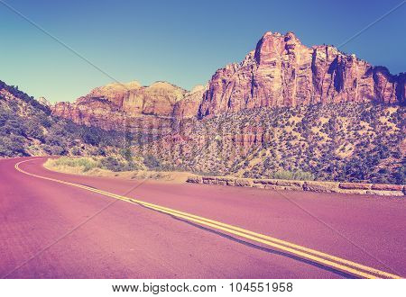 Vintage Stylized Country Road In Zion National Park, Utah, Usa.