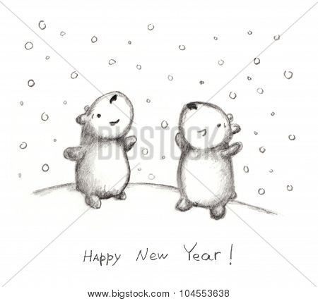 Pencil doodle greeting card with teddy and snowflakes