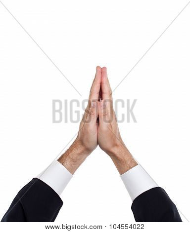 Man hands together symbolizing prayer and gratitude