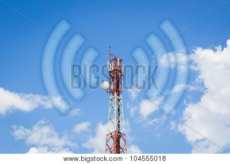 Telecommunication Tower Communication Tower With Wi-fi Wave In Cloudy Blue Sky